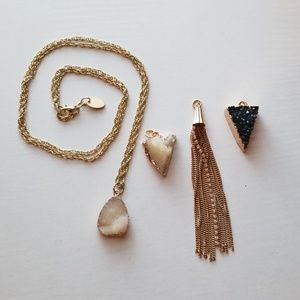 Gold Necklace with 4 Pendants